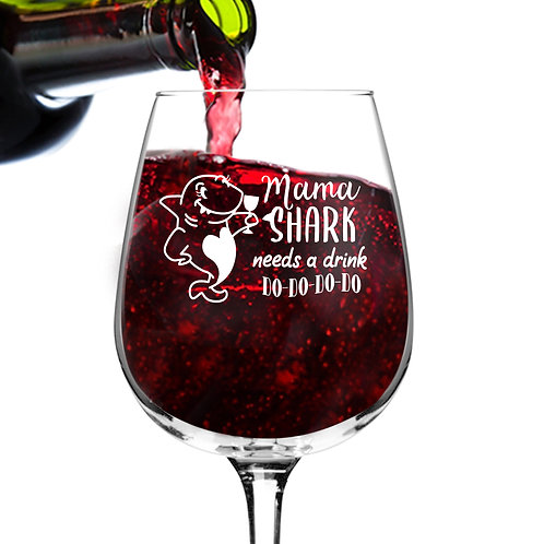 Mama Shark Needs A Drink Do Do Do Funny Wine Glass (12.75 oz)