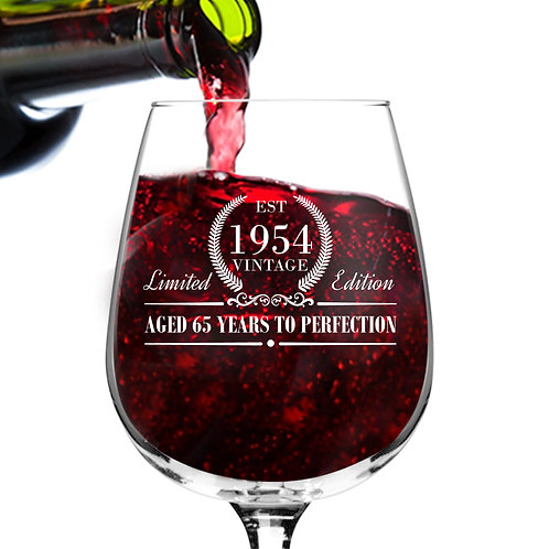 1954 Vintage Edition Birthday Wine Glass for Men and Women (65th Anniversary)
