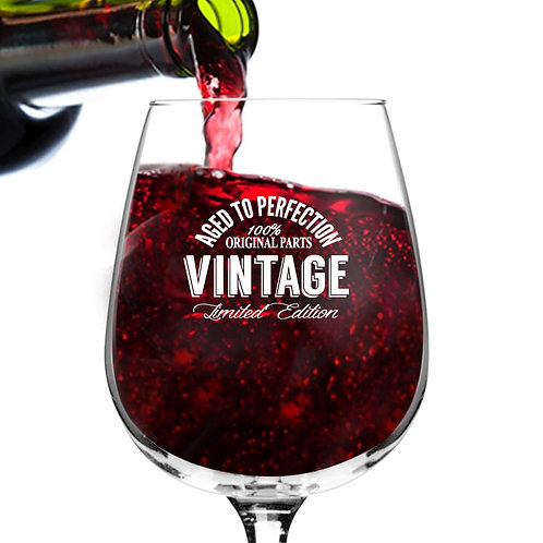 Happy Birthday Vintage Edition Wine Glass for Men and Women (12.75 oz)