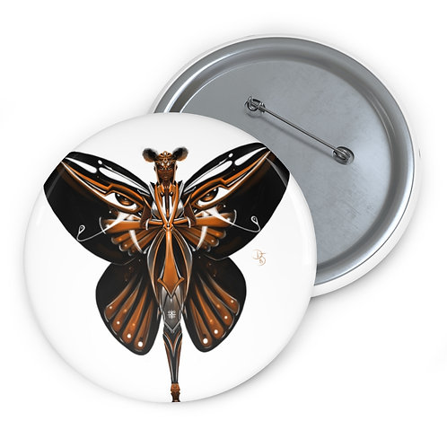 Oh My Black Monarch Butterfly Custom Pin Buttons