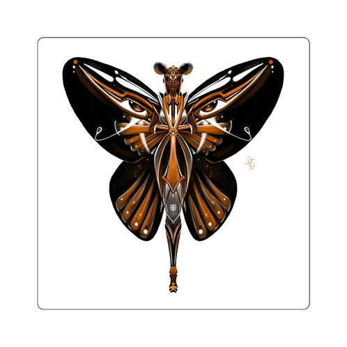 Oh My Black Monarch Butterfly Square Stickers