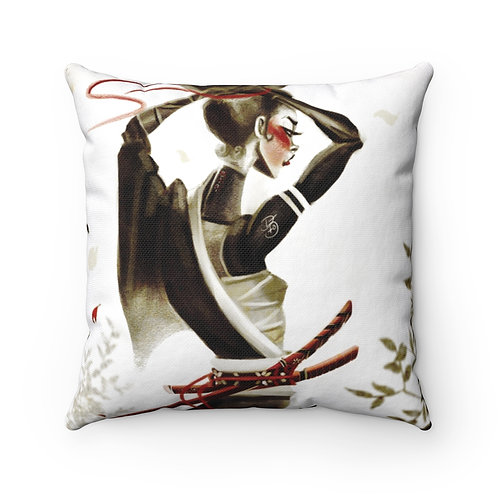 Red Peace Spun Polyester Square Pillow