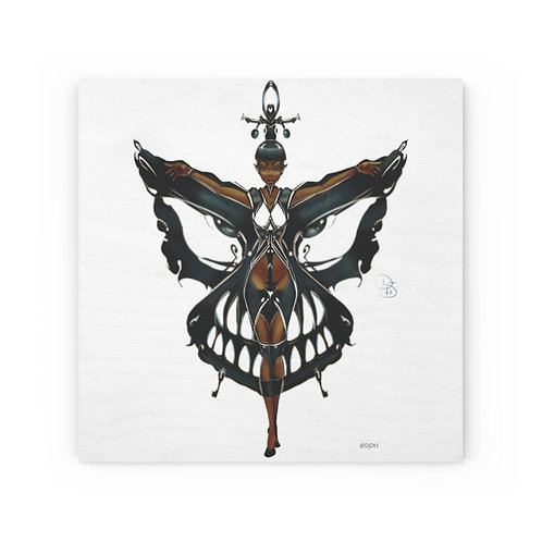 Oh My Black Butterfly Wood Canvas