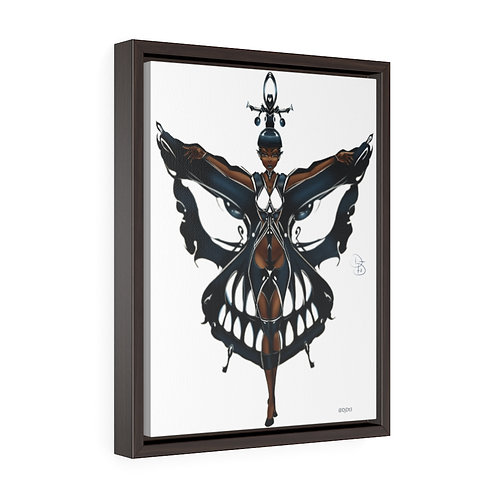 Oh My Black Butterfly Vertical Framed Premium Gallery Wrap Canvas