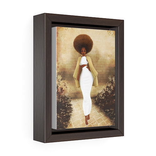 Cream with my Coffee Vertical Framed Premium Gallery Wrap Canvas