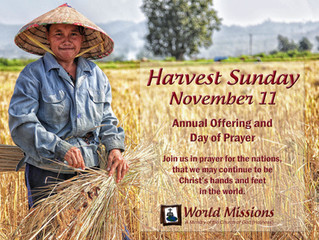 Announcing Harvest Sunday 2018
