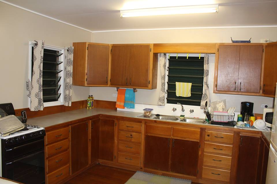 The kitchen of their temporary home