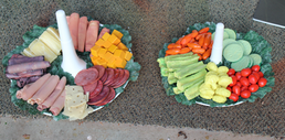 Veggie and meat platters, Fake food