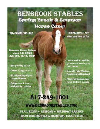 5 days left! Sign up for Benbrook Stables               Spring Break Horse Camp