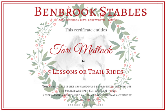Purchase 5 lessons or Trail Rides and receive a free trail ride   www.benbrookstables.com or 817-249-1001