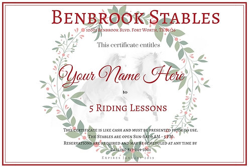 5 - Lesson Gift Certificate