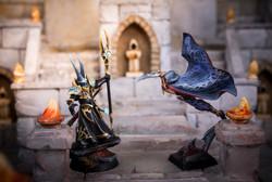 Chaos sorcerer against Dark elves assasin duel scene