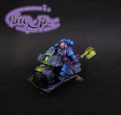Space marine librarian on bike