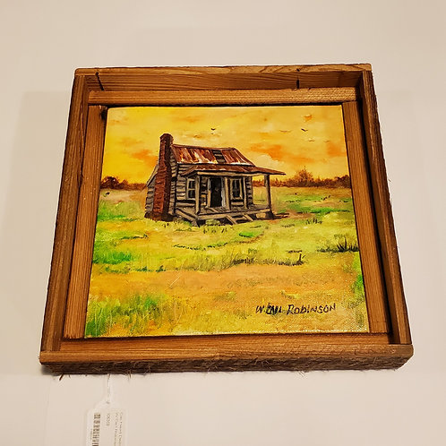 Sunset shack painting by W.E. Robinson