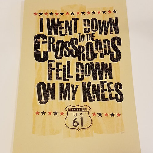 """Fell Down...at the Crossroads"" print w/tube"