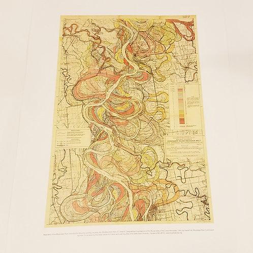 Retro Mississippi river map print w/tube