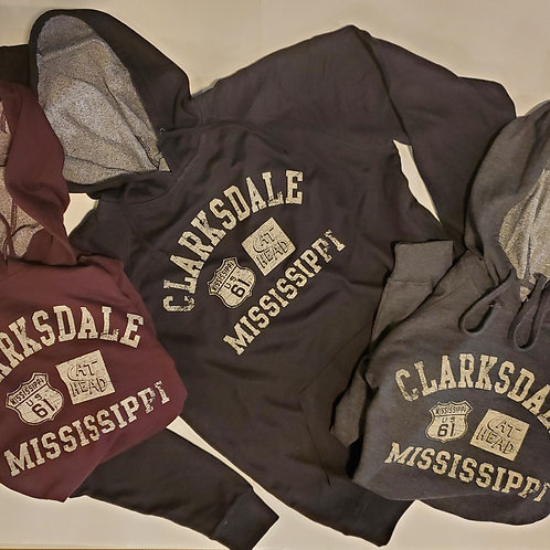 """Clarksdale, Miss."" French terry hoodie - 3 colors"