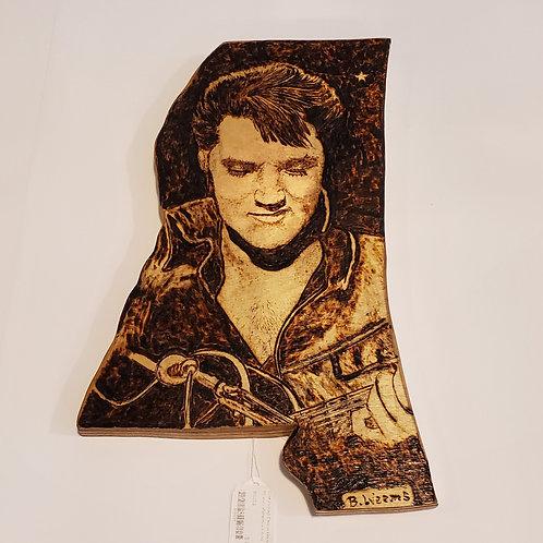 Elvis Presley wood burning by Bryan Weems