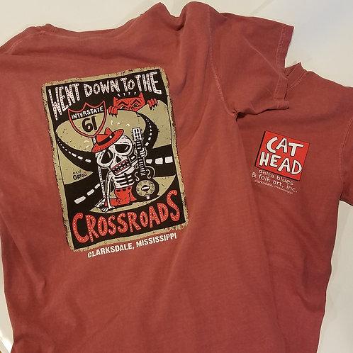 "S/S ""Cat Head/Crossroads"" T-shirt in brick"