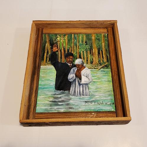 Cypress lake baptism painting by W.E. Robinson