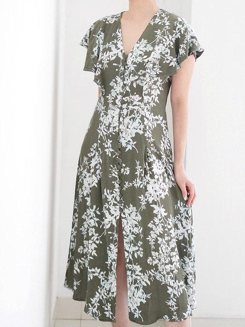 Gina Dress (Green Floral)