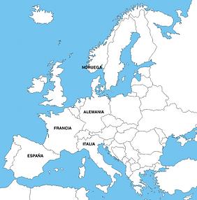 Mapa de Europa, indicando dónde se da servicio