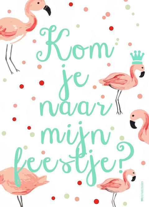 Uitnodigingen Verjaardag Flamingo 12 stuks