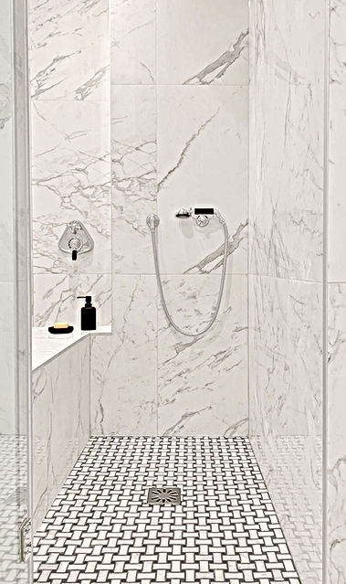 douche, marbre banc de douche, niche, po