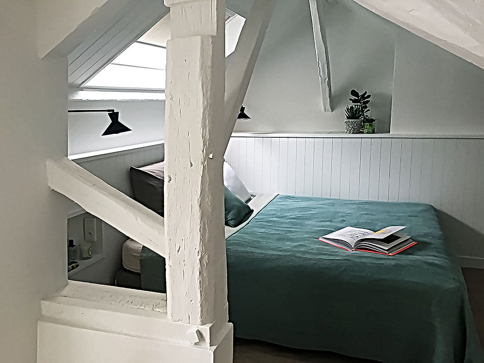 chambre mansardee, poutres,tete de lit, niche, vert