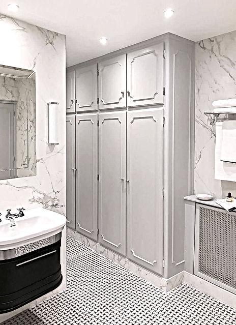 salle de bain, dressing, lavabo, gris, farrow and ball, sol mosaique marbre, applique murale