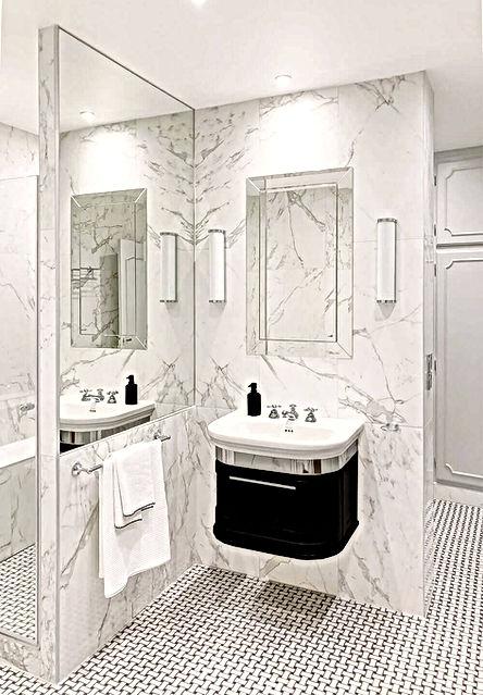 lavabo, salle de bain, douche, marbre, appliques murales, serviettes