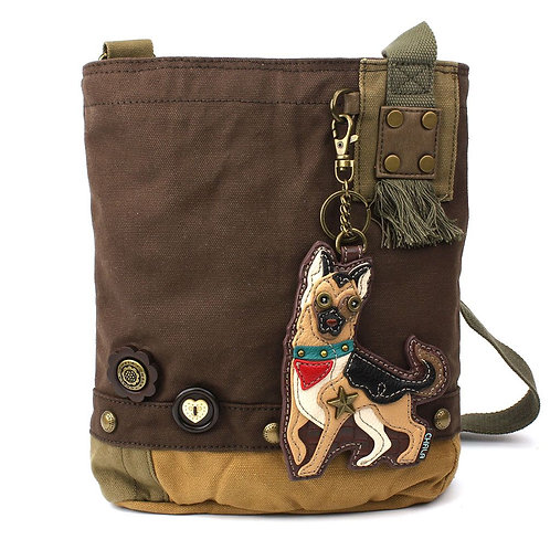 German Shepherd - Dark Brown Patch Crossbody Bag