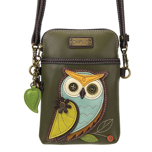 Owl A -Olive Cell Phone Crossbody