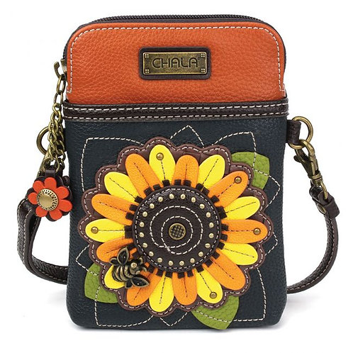 Sunflower - Navy Cell Phone Crossbody