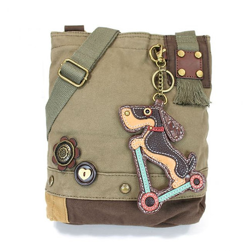 Wiener Dog Scooter -Olive- Patch Crossbody Bag
