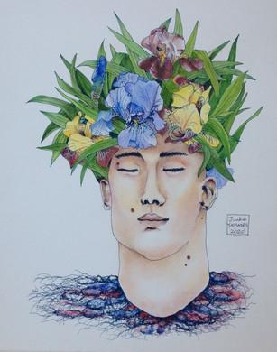 Homme plante - iris