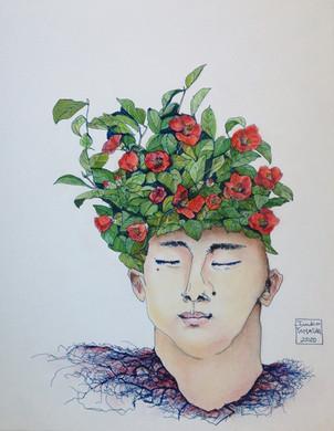 Homme plante - camélia