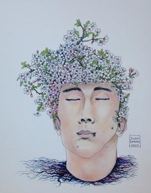 Homme plante - cerisier