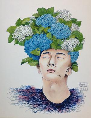 Homme plante - hortensia