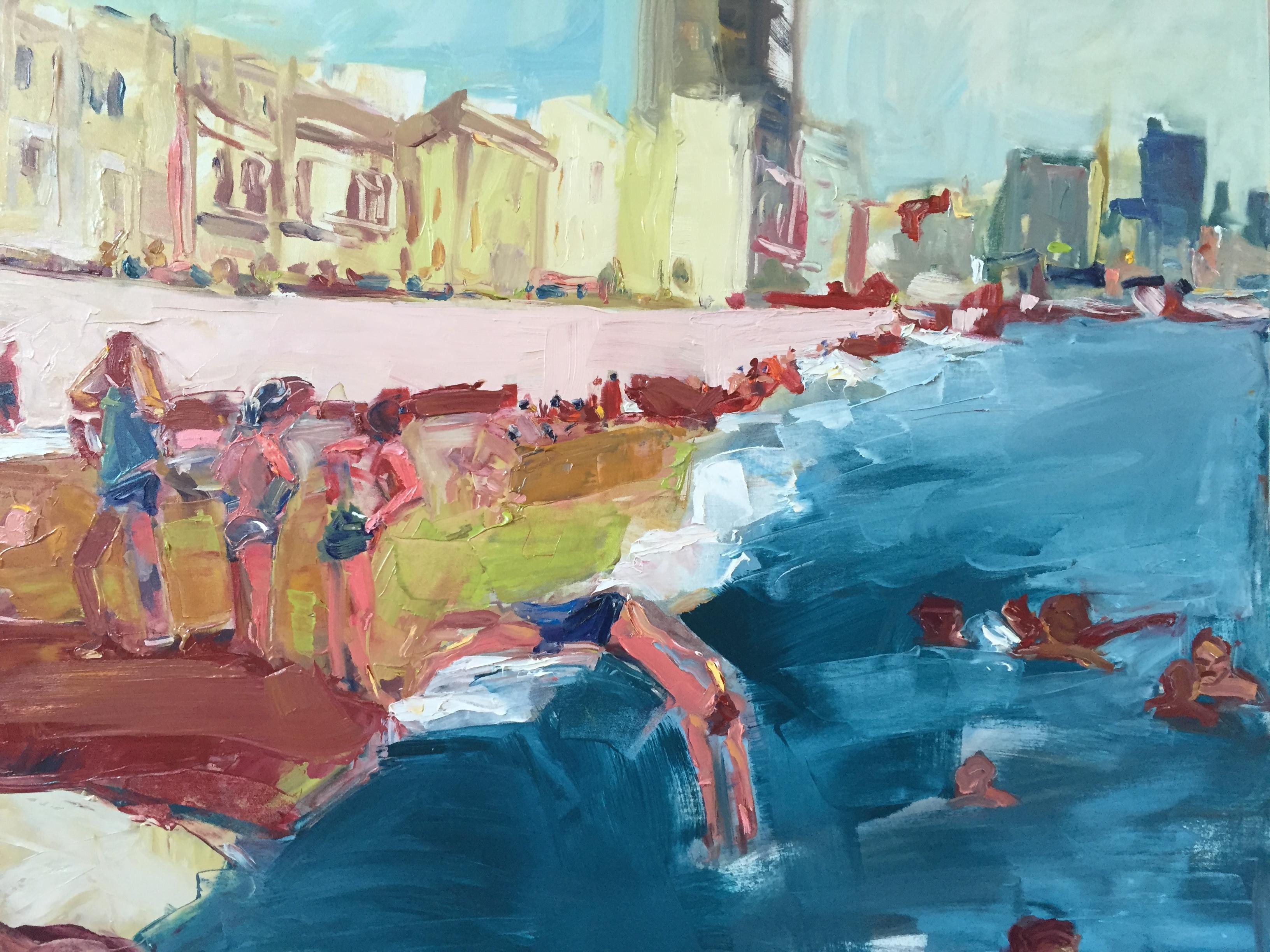 La Vida Cuba_Nadando en el Malecon_48x58)oil on canvas_anaguzman