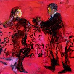 La Vida Cuba_Red Dance_OIl acrylic on canvas_32x39_anaguzman