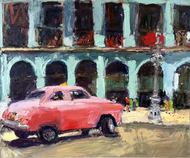 La Vida Cuba_Pink Taxi series 3_oil on linen_36x44_Anaguzman