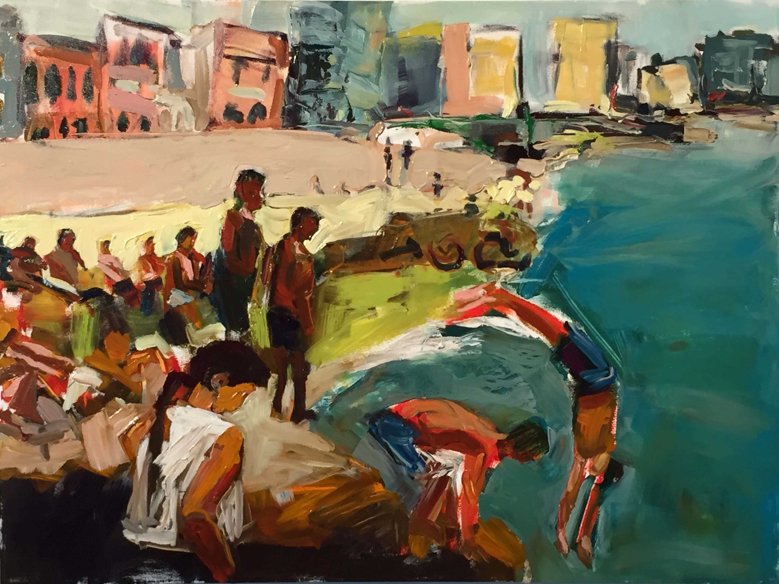 La Vida Cuba series- Nadando en el Malecon_36x48_oil on canvas_anaguzman