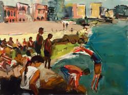 La Vida Cuba series- Nadando en el Malecon_36x48_oil on canvas_anaguzman