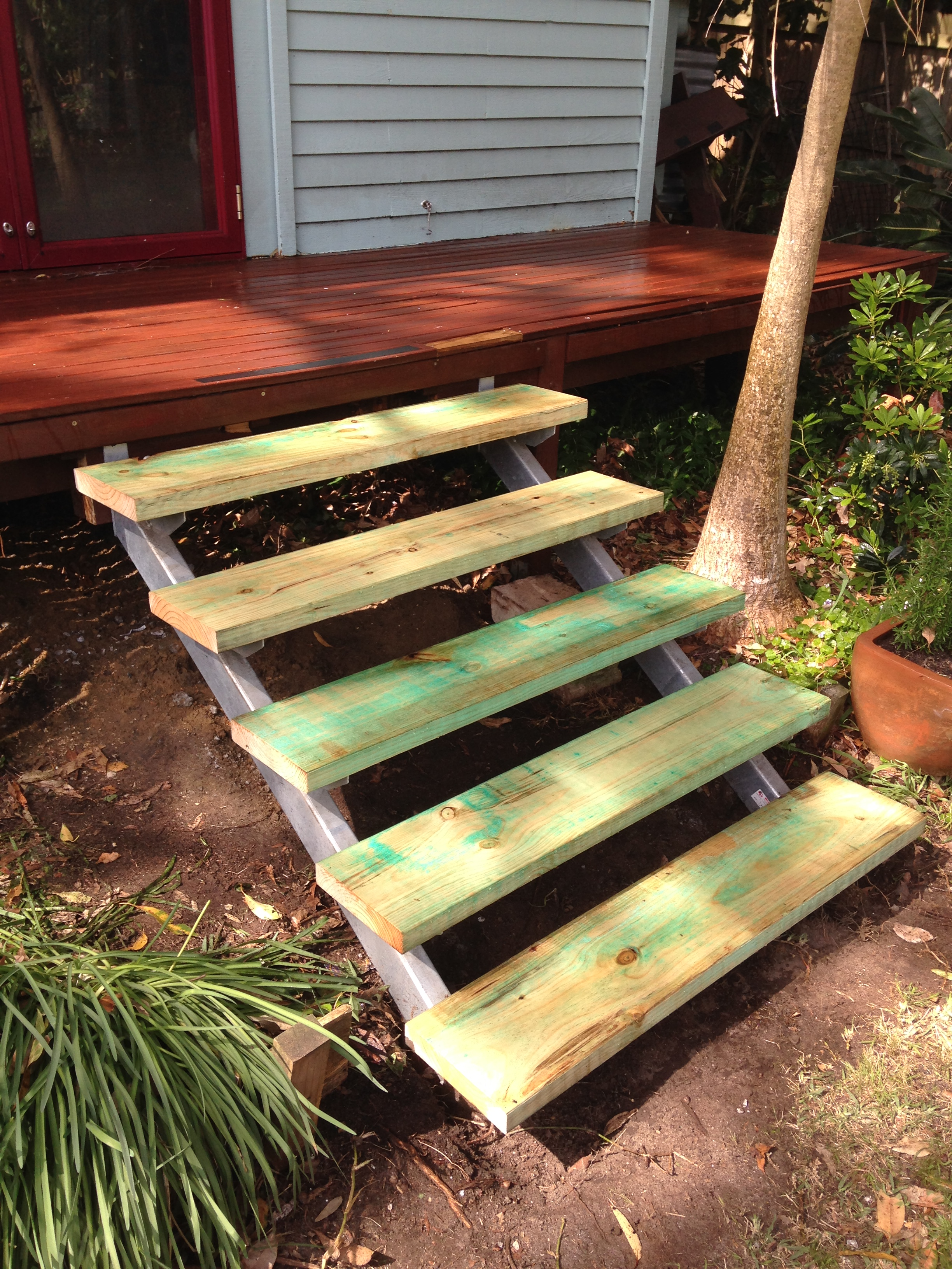 new steel framed garden steps