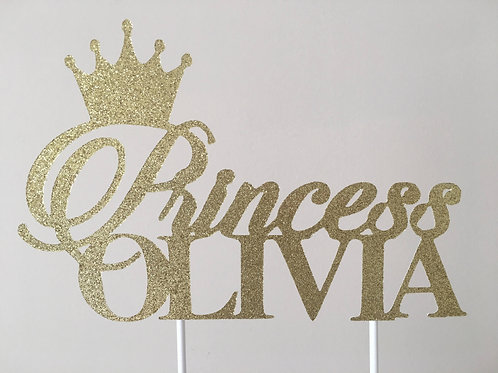Princess Cake Topper, Royal Cake Topper, Tiara Cake Topper