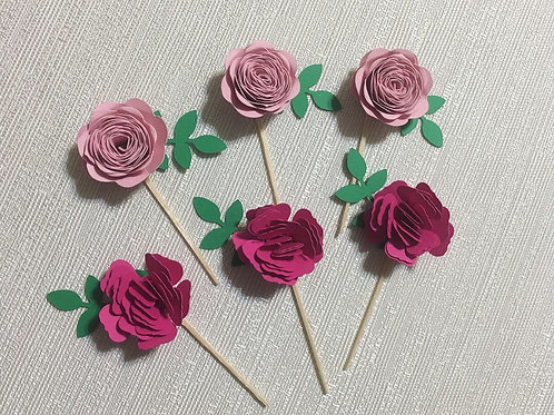 Flower Cupcake Toppers, Boho Cupcake Toppers