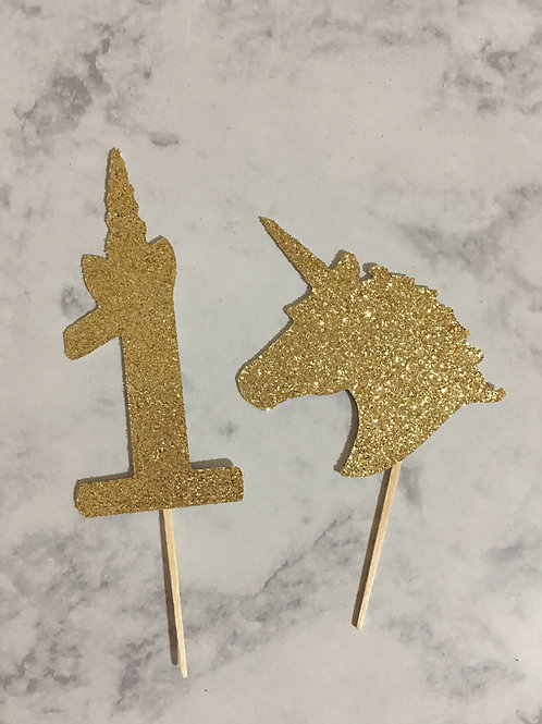 Unicorn Cupcake Toppers, One Cupcake Toppers, Age Cupcake Toppers