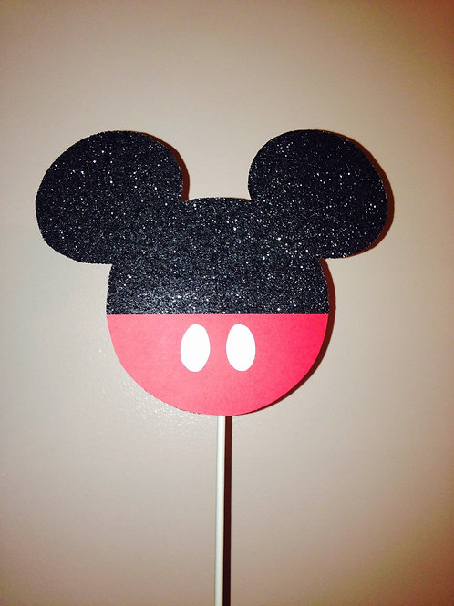 Mickey Mouse Cake Topper, Black Glitter Mickey Mouse Cake Topper
