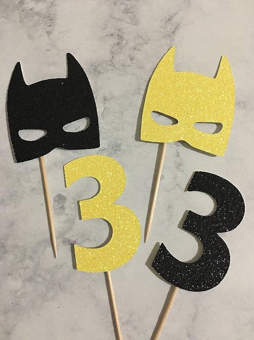 Batman Cupcake Toppers, Superhero Cupcake Toppers